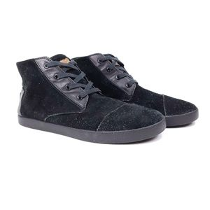 Toms black suede lace up ankle boots womens 10